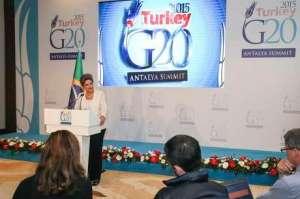 Belek ( Turquia)- Presidenta Dilma Rousseff durante declaração a imprensa após Cúpula do G20 ( Roberto Stuckert Filho/PR)